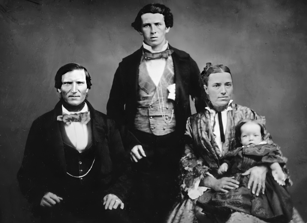 Samuel Hockey, William Walter Guy, Isabella Guy, baby Emily Valeria Guy. c 1858